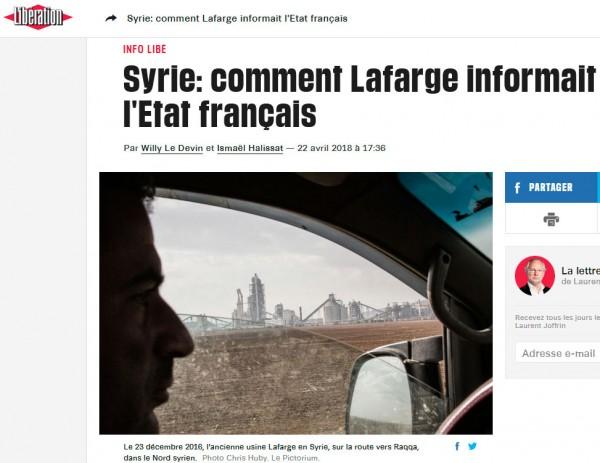 Lafarge aurait servi d'informateur aux renseignements français — Syrie